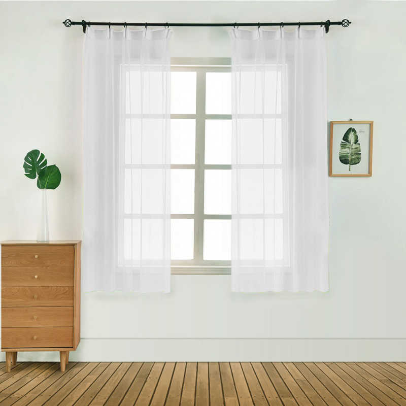1 Panel Fabric Leaves Sheer Curtain Tulle Window Treatment Voile Drape Valance Cortinas Dormitorio Curtains for Living Room