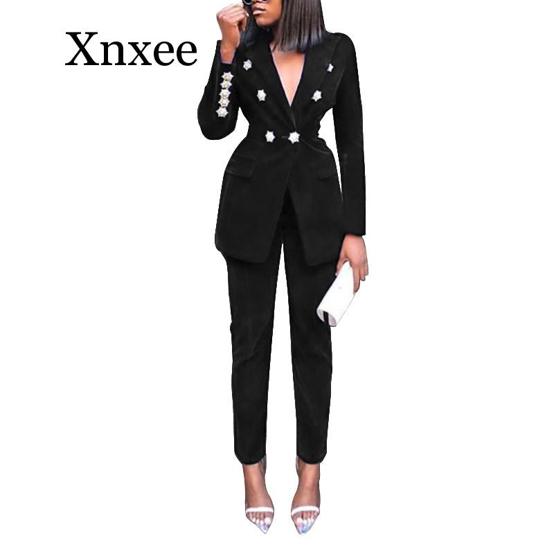 Autumn Winter Tracksuit Notched Full Sleeve Blazers Pants Suit Two Piece Casual Office Lady Outfit Solid Women Set