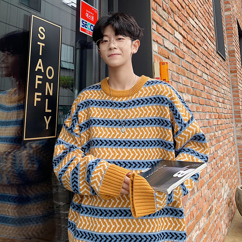 Winter Sweater Men Warm Fashion Retro Striped Casual Knit Sweaters Man Streetwear Wild Loose Long-sleeved Pullover Male Clothes