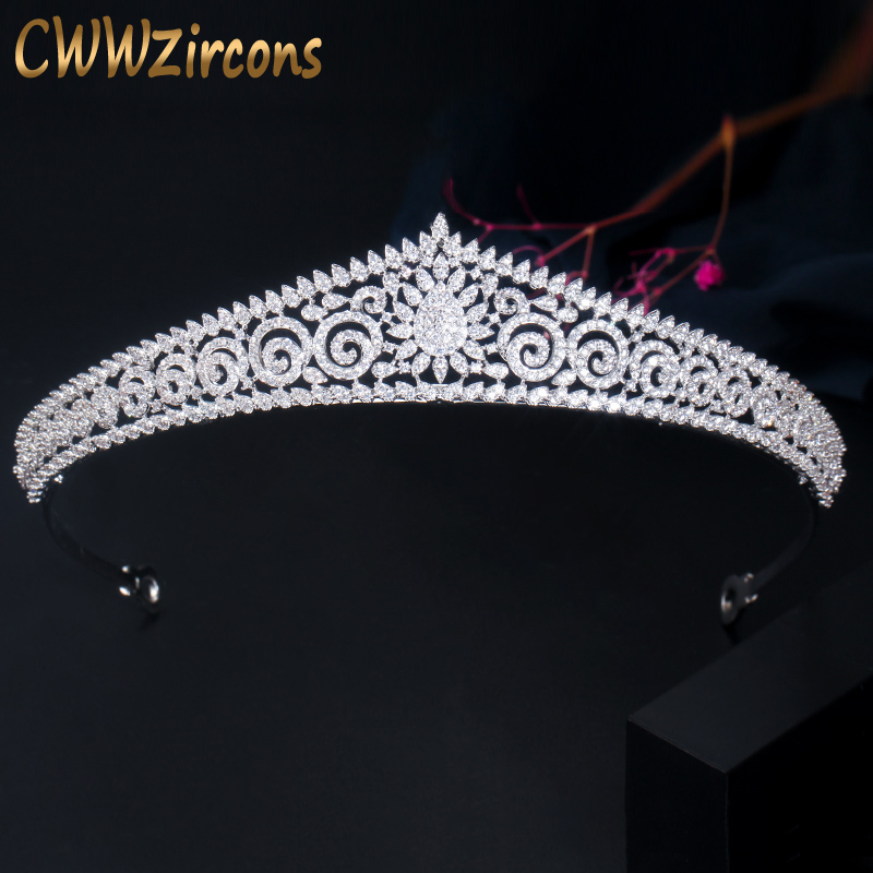 CWWZircons Vintage Cubic Zircon Big Wedding Tiara Noiva Crowns for Brides Hair Accessories Luxury Party Costume Jewelry A024 Hair Jewelry    - AliExpress