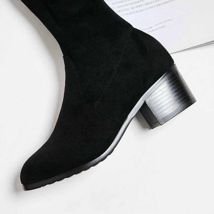 QUTAA 2020 Kadın Diz Yüksek Çizmeler Üzerinde Kare Topuk Akın Kış Kadın Ayakkabı Sıcak Kürk Lace Up Tüm Maç uzun Çizmeler Boyutu 34-43