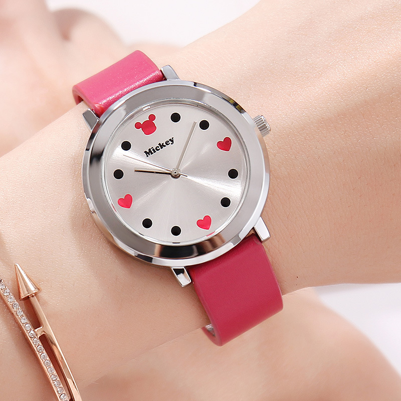 Disney Mickey Mouse Quartz Wristwatch Simple True Belt Ultra-thin Dial Watch Women Water Resistant Leather Alloy Buckle