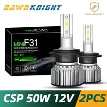 DAWNKNIGHT 2 шт. H7 светодиодный лампы CSP чип турбо 9000LM 6000K мини Размеры H4 H1 H3 H8/H9/H11 H27/880 9005/HB3 9006/HB4 D2S оборот в минуту (R/C) F3 светодиодный