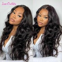 Perruque Lace Closure Wig péruvienne naturelle – ISEE Hair, cheveux humains, Body Wave, 4x4, pour femmes