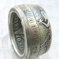 الأفاق عملة لنا مورغان الدولار الفضة مطلي خاتم يدويا لنا حجم 8-16