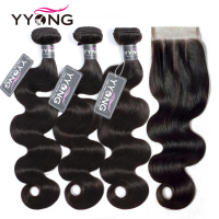 Yyong Hair 3 Bundles Brazilian Body Wave Bundles With Closure Remy 4Pcs/Lot Human Hair Weave Bundles With Lace Closure