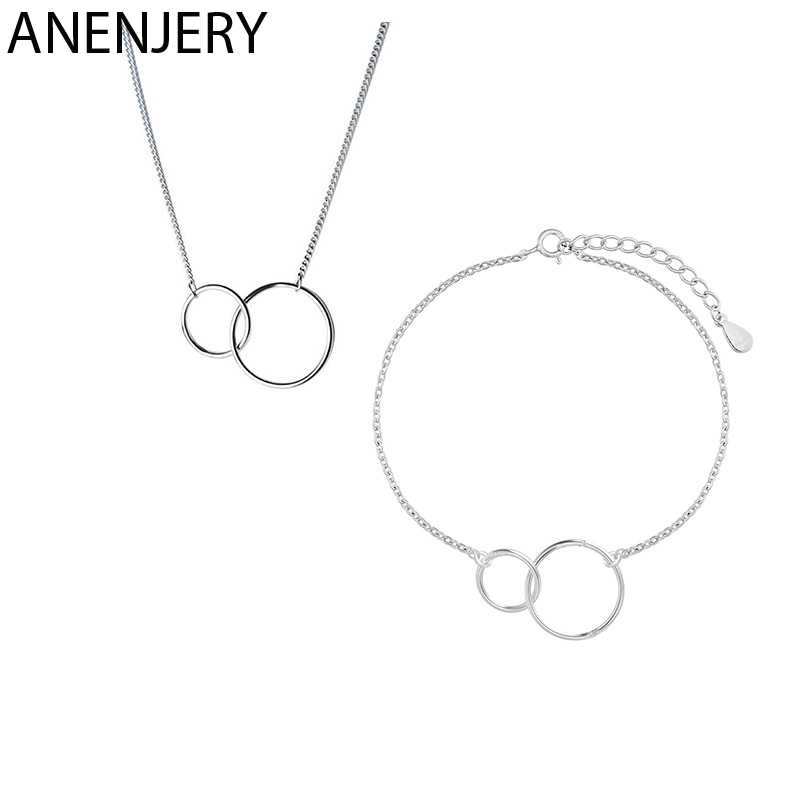 ANENJERY Minimalist 925 Sterling Silver Double Circle Necklace+Bracelet Jewelry Sets For Women Sister Jewelry