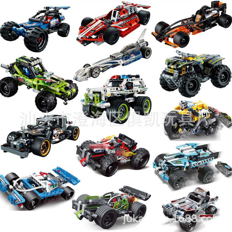 Decool 3411-3420 Off-road Car Super Racing Car Model Building Block Bricks Toys For Kennieed Pull Back 42059 MOC Truck DIY