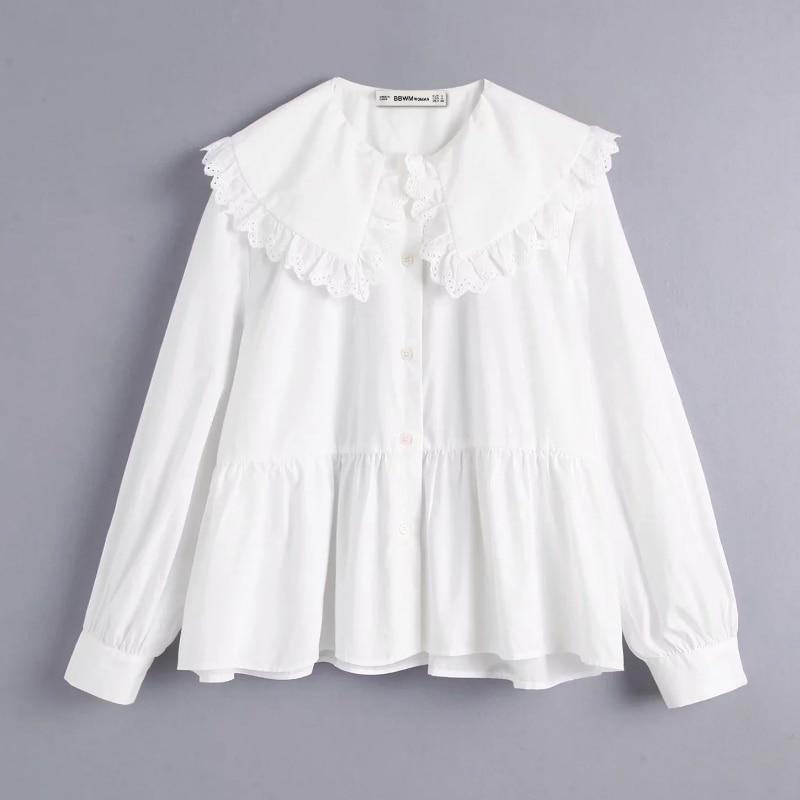 New Women Elegant Turn Down Collar Lace Crochet Stitching Casual Smock Shirt Blouse Women Femininas Chemise Kimono Shirts LS4067