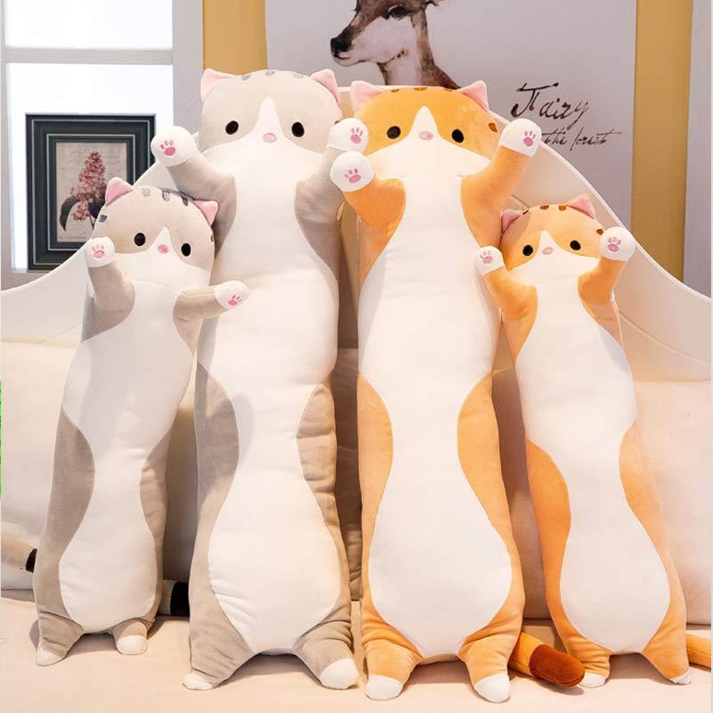 Mode mignon chat sommeil longue peluche pour envoyer des enfants genou oreiller Almofada Coussin Overwatch Cojines Decorativos Coussin de siège