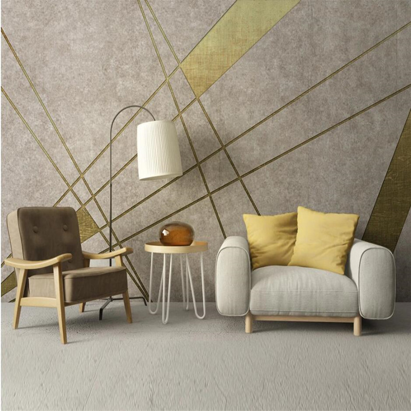 Nordic Modern Minimalistic Golden Geometric TV Background Wallpapers For Living Room Bedroom Walls 3D Wall Papers Home Decor