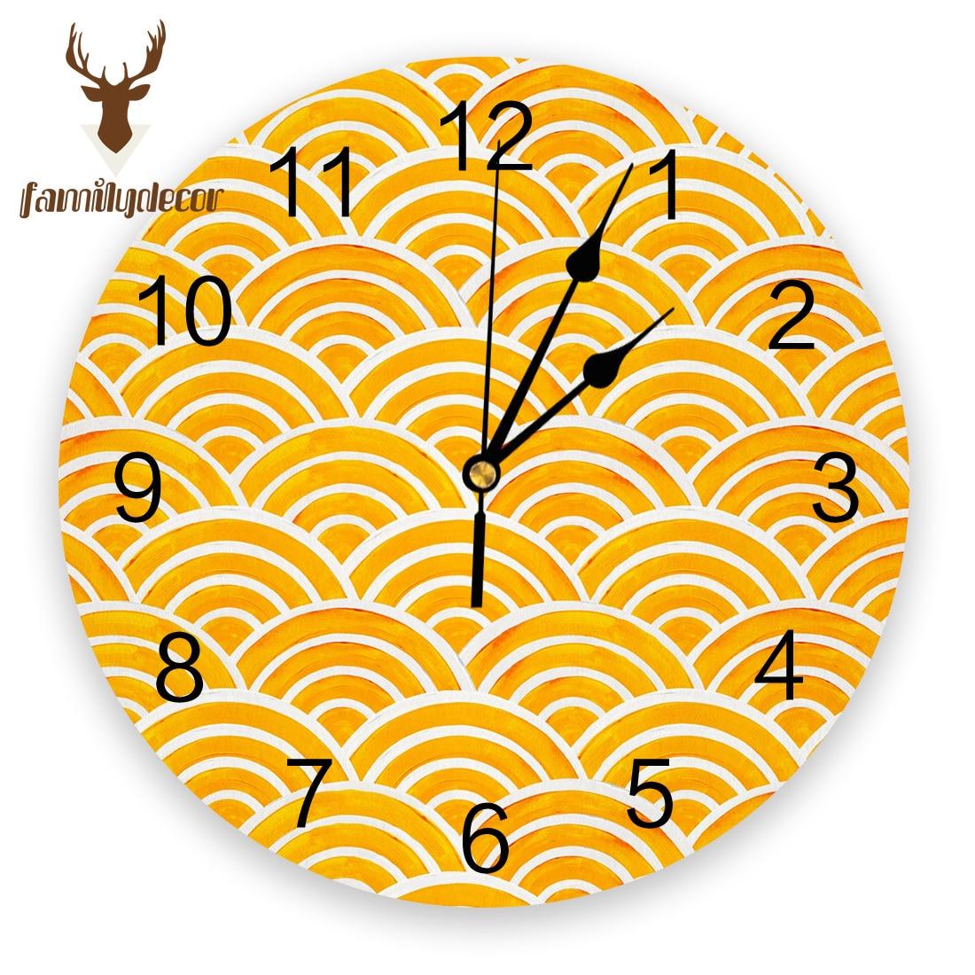 Японские Настенные часы Seigaiha Wave Marigold с принтом ПВХ, современный дизайн, домашний декор, для спальни, бесшумные часы для гостиной