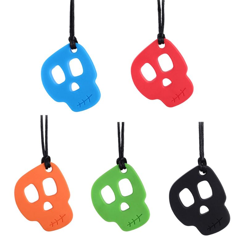 Silicone Teether Autistic Baby Silicone Teether Sensory Chewing Pendant Necklace Teething Toy