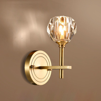 Fss modern gold crystal bedside wall light wall sconce led lamp luxury wall lights fixtures for bedroom wall lamps Living room modern glass ball wall lamps luminaria led wall lights for bedroom living room wall sconces light fixtures lustre lighting lighs