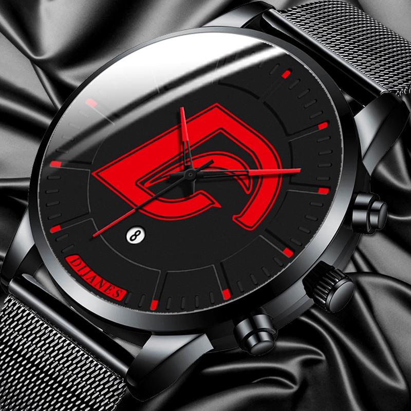 DIJANES Mens Fashion Black Stainless Steel Mesh Belt Watches Minimalist Men Business Calendar Quartz Watch Relogio Masculino