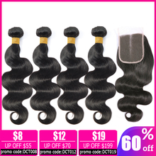 LEVITA body wave bundles with closure human hair 2 4 bundles with closure non-remy hair extension Brazilian hair weave bundles