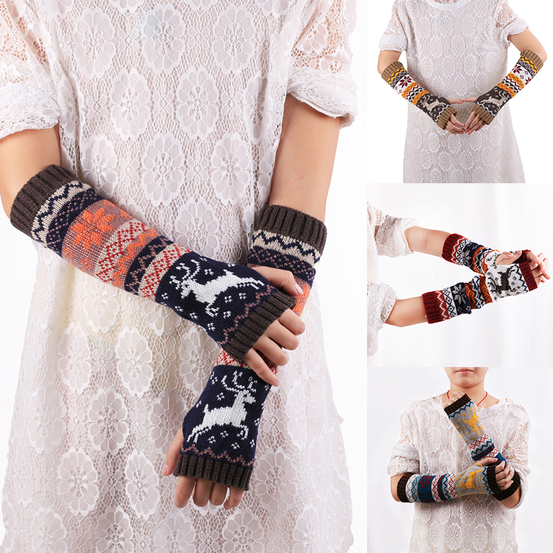 Winter Women Wool Knitted Arm Fingerless Gloves Fashion Christmas Girls Cute Elk Knitted Mitten Long Gloves Accessories