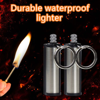 Creative 10,000 Times Lighted Match Kerosene Lighter Keychain Multifunctional Outdoor Waterproof Million Matches Fire Starter BB image