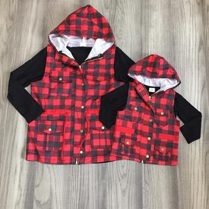 Image 1 - fall/winter baby girls cotton long sleeve vest top t shirt mommy & me plaid hoodie raglans children clothes match t shirt top