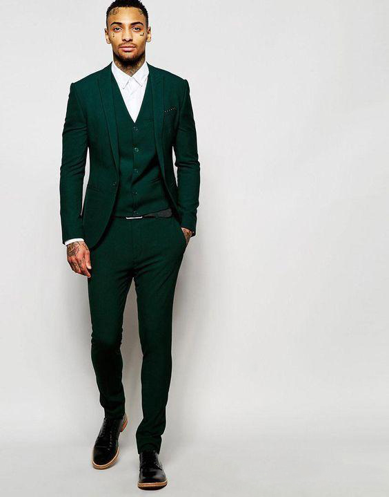 Latest Design One Button Dark Green Groom Tuxedos Groomsmen Best Man Suits Mens Wedding Blazer Suits (Jacket+Pants+Vest+Tie)
