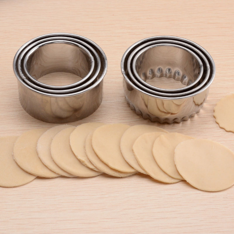 Portable Gadgets Steel Stainless Cookie Pastry Wrappers Cutting Dough 3pcs/lot Round Flower Dumplings Tools Molds Cutter Maker