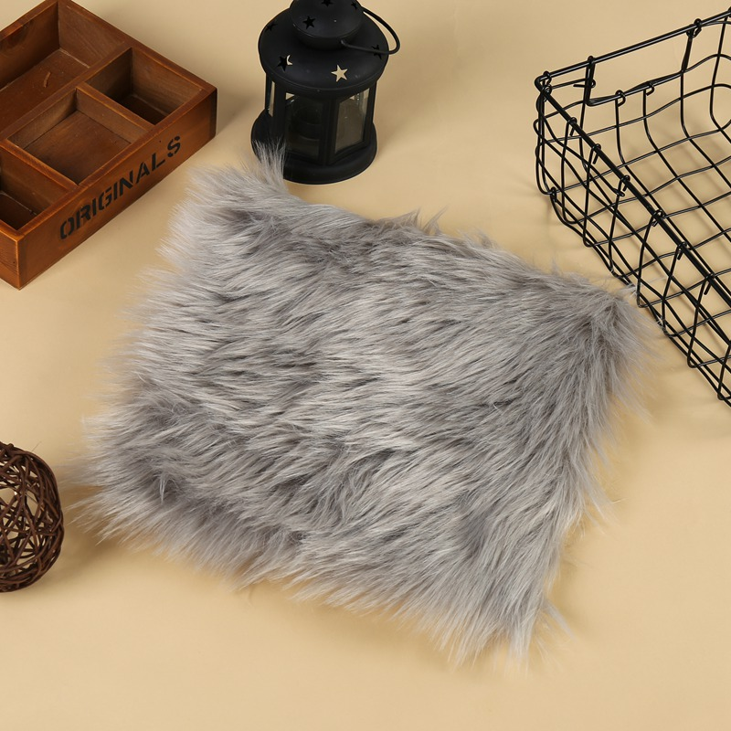 Wholesale Faux Sheepskin Chair Cover 3 Colors Warm Hairy Wool Carpet Seat Pad Long Skin Fur Plain Fluffy Area Rugs Washable
