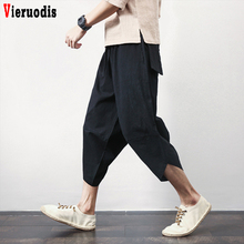 Male Summer Punk Street Pants Lantern Pants Men Hiphop Jogger Trousers Men Baggy Ultralarge print Pants Casual Calf-Length Pants cheap Vieruodis Wide Leg Pants Linen COTTON Midweight DSJFK01 Chinese Style Loose Broadcloth Pockets Elastic Waist Ankle-Length Pants