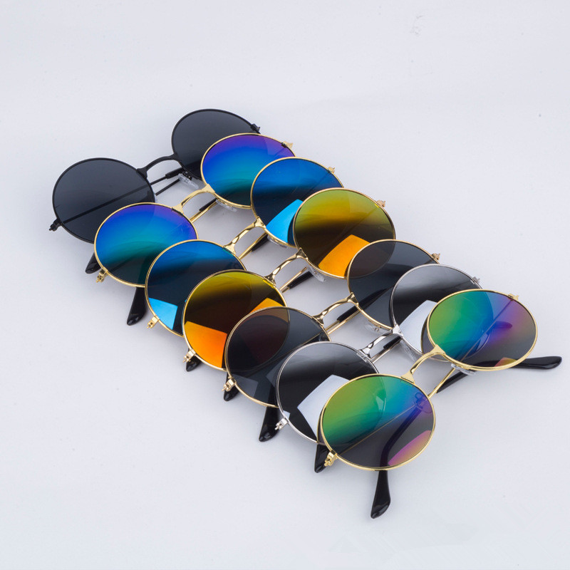 Men Sunglasses Women Retro Punk Style Round Metal Frame Cycling Riding Sunglasses Colorful Lens SunGlasses  Eyewear Gafas