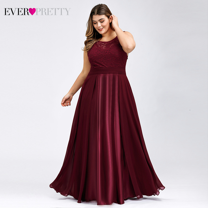 Plus Size Satin Evening Dresses Long Ever Pretty EZ07695 A-Line O-Neck Lace Sleeveless Tulle Formal Dresses Vestido Longo Festa