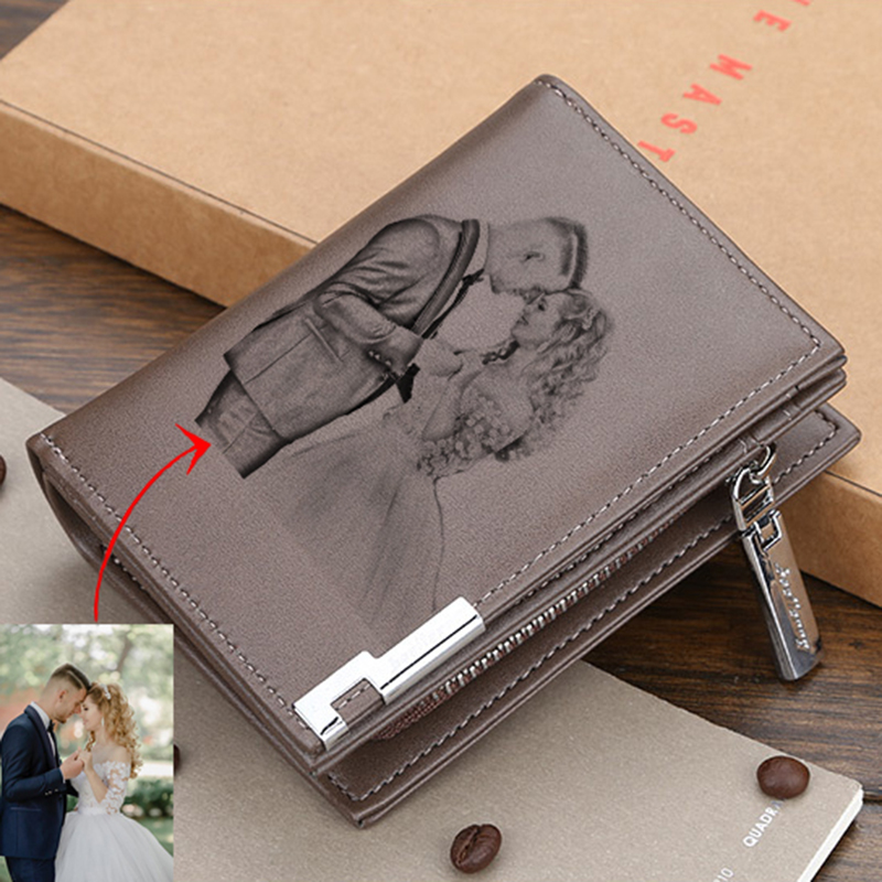 Custom Picture Wallet Men's Casual Wallet Zipper Buckle Card Holder Card Holder Custom Pattern Engraving Multifunctional Wallets