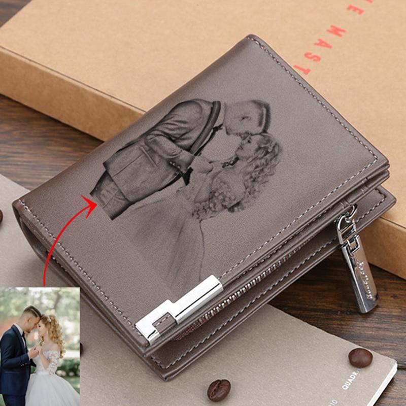 Custom Picture Wallet Men's Casual Wallet Zipper Buckle Card Holder Card Holder Custom Pattern Engraving Multifunctional Wallets
