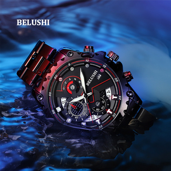 Belushi New 565 Relogios Masculinos De Luxo Original Watch Men Luxury Brand Famous Black Quartz Men watch Waterproof Chronograph brand new in original box philips gc5033 80 azur elite steam iron with optimaltemp technology original brand new