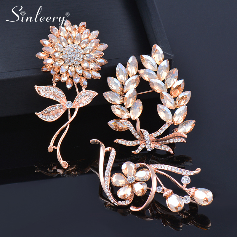 SINLEERY Luxurious Champagne Cubic Zircon Flower Brooch Pin For Women 2021 New Arrival Jewelry XZ016 SSK