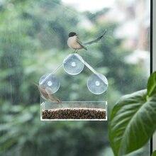 Alimentador de pássaro acrílico transparente janela de visualização alimentadores de aves bandeja birdhouse animal estimação alimentador de água ventosa montagem tipo casa alimentador