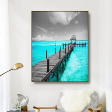 Canvas Art Painting Azure sea trestle Scenery Art Poster Picture Wall Decor Colorful Modern Home Decoration For Living room Cafe