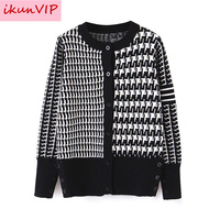 Europe women's sweater cardigan sweater coat a thin and short paragraph 2019 Hitz air jacket houndstooth Retro Plaid Female ZA
