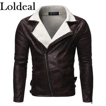 Loldeal Men Lapel Leather Jacket Fashion Zipper Lambskin Slim Warm Casual