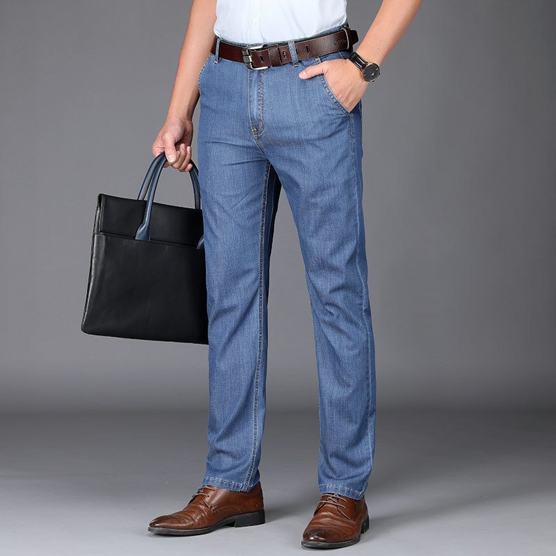 Modal Drape Jeans Men's Middle-aged Daddy Clothes Business Straight-Cut Elasticity Jeans High-waisted Men'S Wear Thin Fashion