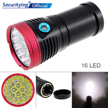 16 LEDs 8000LM Ultra Bright Aluminum Waterproof Flashlight Torch Support 18650 Rechargeable Battery for Hungting / Fishing 16 xml t6 led 8000lm ultra bright waterproof flashlight torch 4 modes light by 18650 rechargeable battery for hungting fishing