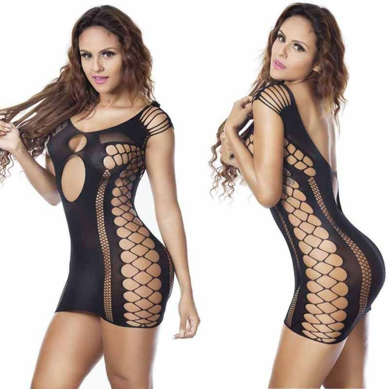 Sexy Lingerie Women Black Hollow Out Slim Hot Erotic Short Mini Dress Babydoll G-String Lace Thong Sexy Underwear Sleepwear