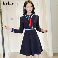 Jielur OL Style Hit Color Office Dress Elegant Formal Brief Turn-down Collar Korean Navy Blue Slim Stripe Roupas Feminina