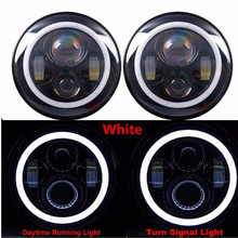 for Jeep Wrangler 7 LED Headlights 60W High Low Beam LED H4 Halo Angel Eye DRL Amber Turn Signal  JK TJ Land Rover Harley