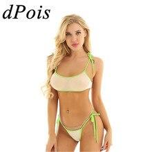 DPOIS, сексуальный мини-бикини, набор, для женщин, купальник с низкой талией, в сеточку, прозрачный, прозрачный, женский купальник, нижнее белье
