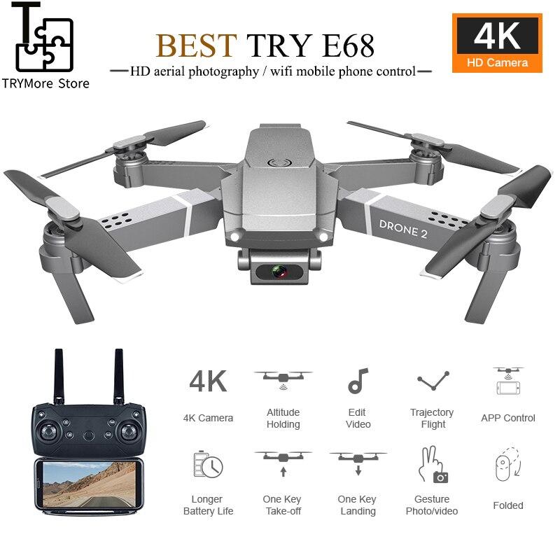 Nowy Mini Dron Quadcopter E68 Wifi Dron Fpv z szerokim kątem Hd 4k 1080p aparat wysokość trzymać tryb Rc składany Quadcopter Dron prezent