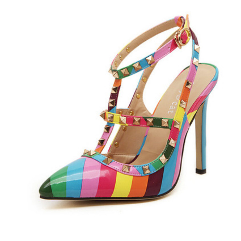 Ladies Rainbow Colorful T-Strap Rivets Sandals Closed Toe Super High Heel Shoes Fashion American Style Big Size 3-43 Mixed Color