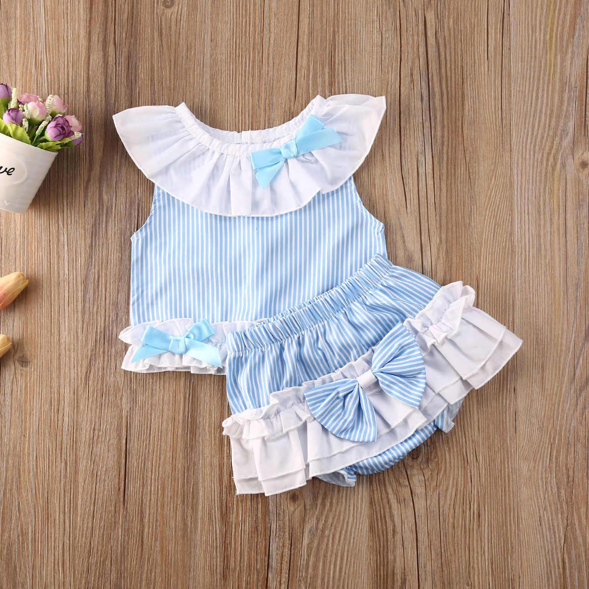 Pasgeboren Baby Baby Meisjes Prinses Zomer Boog Korte Mouwen T-shirts Tops + Shorts 2 Stuks Set 0-24M