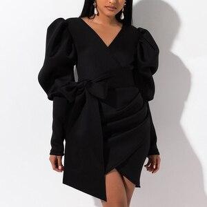 Image 4 - Aartiee Sexy V ausschnitt Puff sleeve frauen kleid 2019 Herbst winter Kurze weibliche kleid mini Schärpe gürtel partei vestidos verband kleid