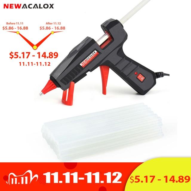 NEWACALOX EU/US 100V~240V 30W/60W/100W Mini Hot Melt Glue Gun with 7m/11mm Glue Sticks for Arts Crafts Home Repair DIY Hand Tool