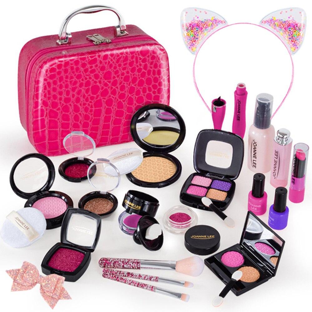 Dzieci udawaj makijaż dla dziewczynek, zagraj w zestaw do makeupu zestaw dla malucha z urocza torba zestaw kosmetyków dla dziewczyny świąteczna zabawka urodzinowa (nie prawdziwa)