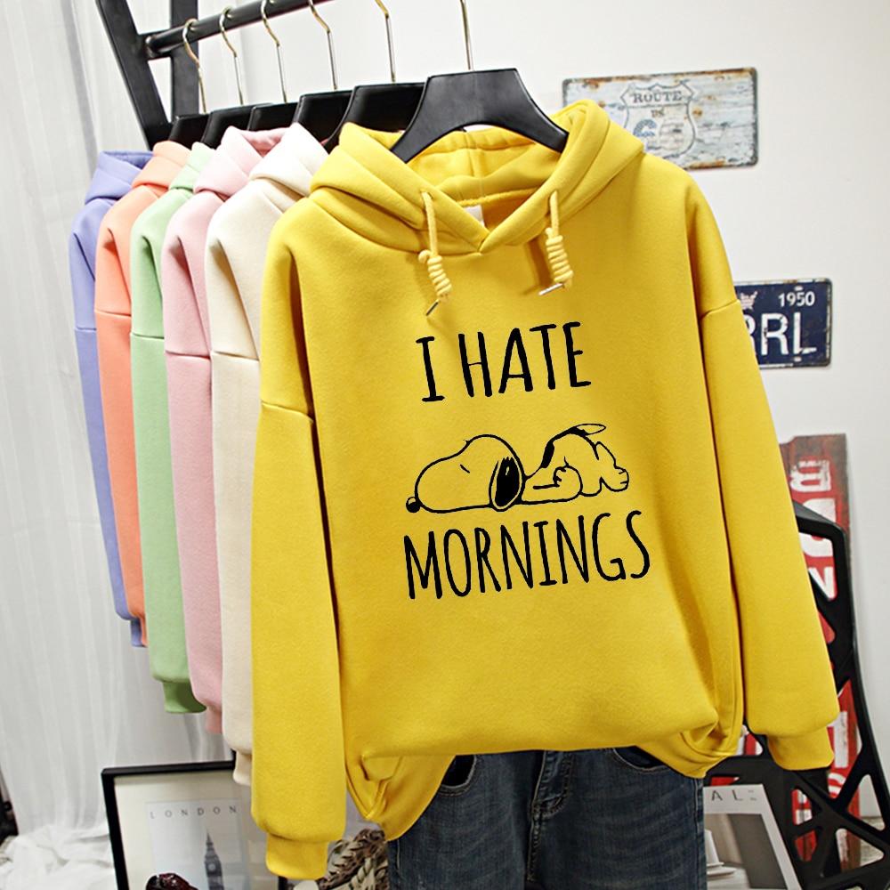 I Hate Mornings Letter Sleeping Cute Dog Print Oversized Hoodie Kawaii Sweatshirt Harajuku Streetwear Warm Korean Hoody Ladies